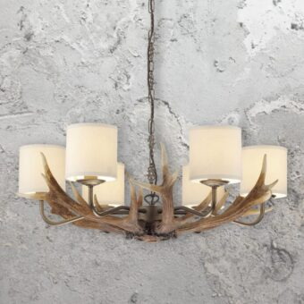 Rustic 6 Light Cream Shades Antler Chandelier