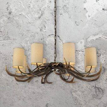 Rustic 8 Light Cream Shades Antler Chandelier