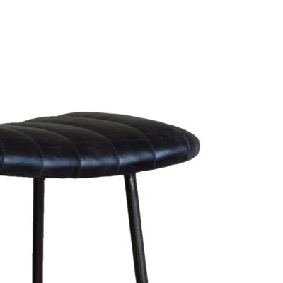 Rustic Ribbed Buffalo Leather Bar Stool