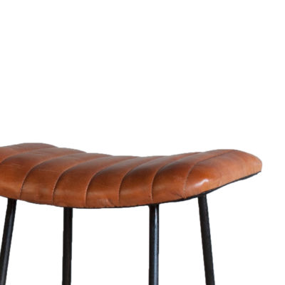 Rustic Ribbed Leather Bar Stool