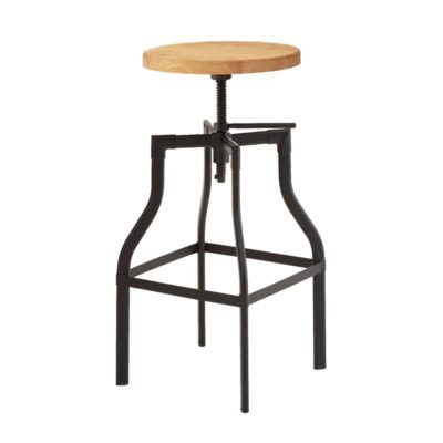 Rustic Round Adjustable Bar Stool