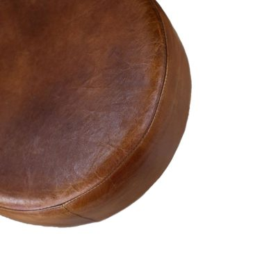 Rustic Round Leather Bar Stool