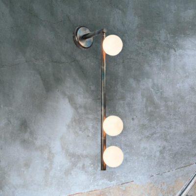 Rustic Steel Globes Wall Light