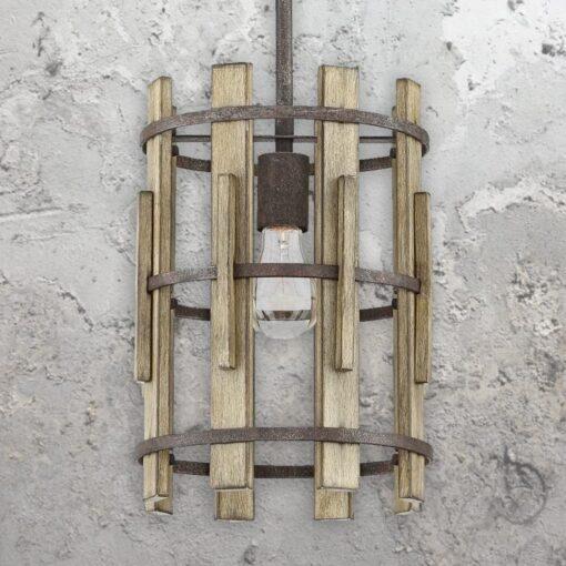 Rustic Wood Cage Pendant Light