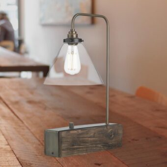 Rustic Wood Clear Glass Table Lamp