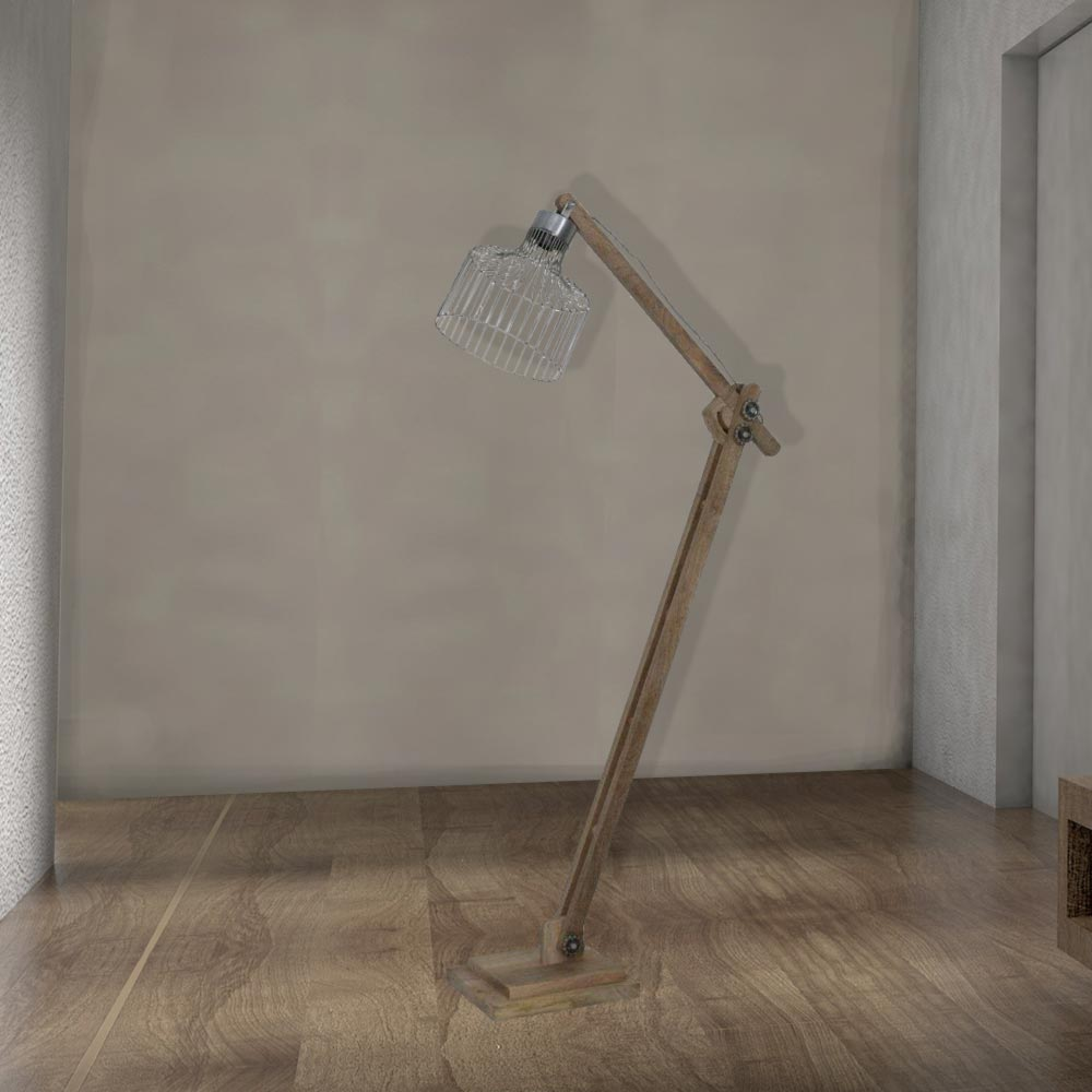 Rustic Wood Floor Lamp Cl 32714 E2 Contract Lighting Uk