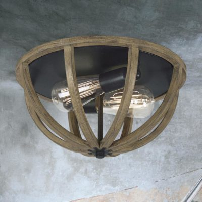 Rustic Wood Flush Mount Light