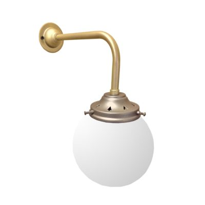 Satin Antique Brass Opal Globe Wall Light