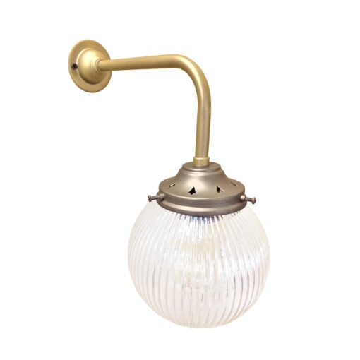 Satin Antique Brass Prismatic Globe Wall Light