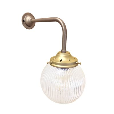 atin Antique Brass Prismatic Globe Wall Light