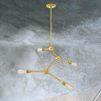 Satin Brass 4 Light Industrial Rod Chandelier