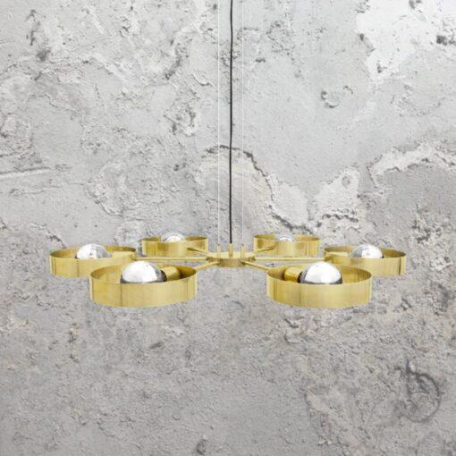 Satin Brass 6 Light Industrial Ring Chandelier