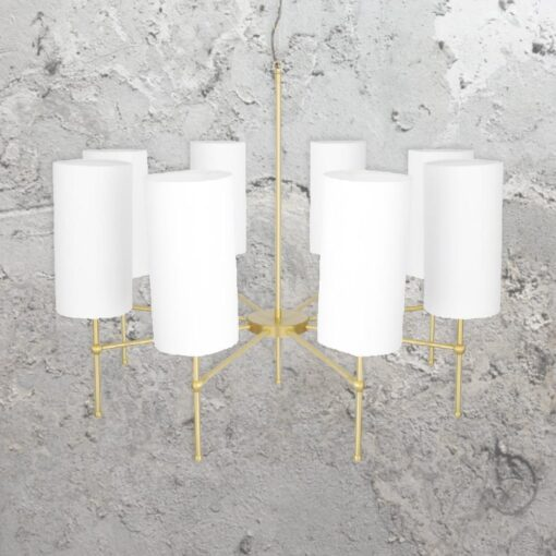 Satin Brass 8 Light Chandelier with Shades