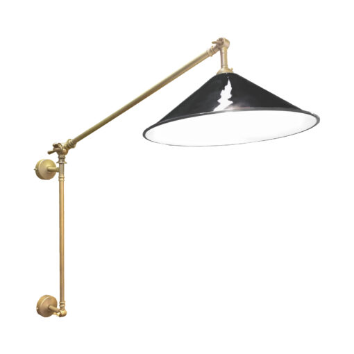 Satin Brass Black Coolie Enamel Wall Light