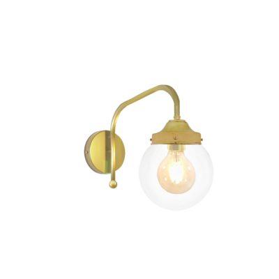 Satin Brass Clear Globe Wall Light