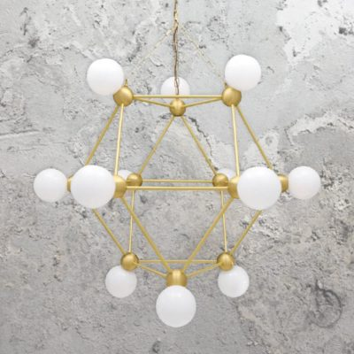 Satin Brass 12 Light Geometric Frame Chandelier