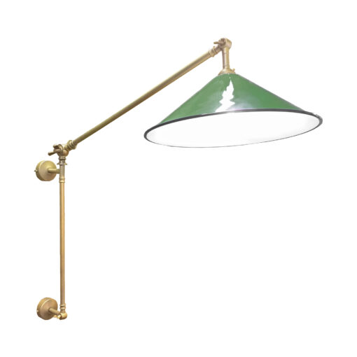 Satin Brass Green Coolie Enamel Wall Light