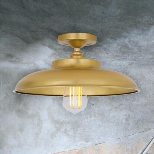 Satin Brass Industrial Farmhouse Flush Mount Light
