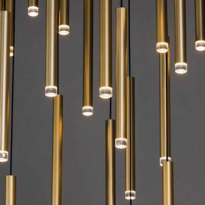 Satin Brass LED Tube Pendants Cluster