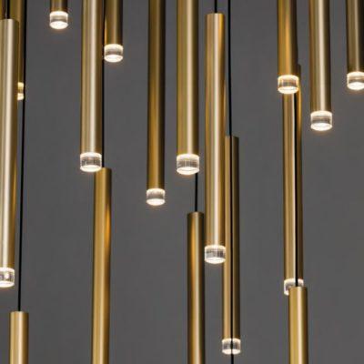 Satin Brass LED Tube Pendants Cluster