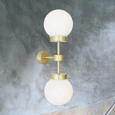 Satin Brass Opal Double Globe Wall Light