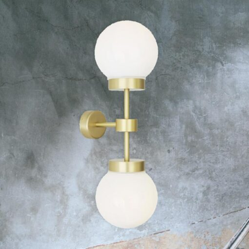 Satin Brass Opal Double Globe Wall Light