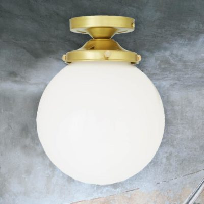 Satin Brass Opal Globe Flush Light 200mm