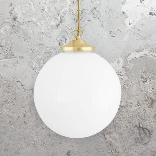 Satin Brass Opal Globe Pendant Light 300mm