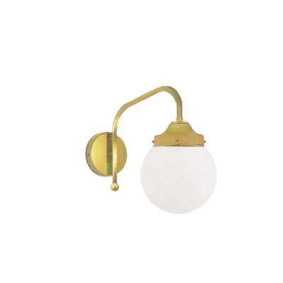 Satin Brass Opal Globe Wall Light