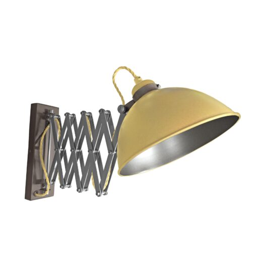 Satin Brass Scissor Arm Wall Light Gunmetal Inner