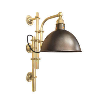 Satin Brass Steampunk Wall Light with Brass Shade