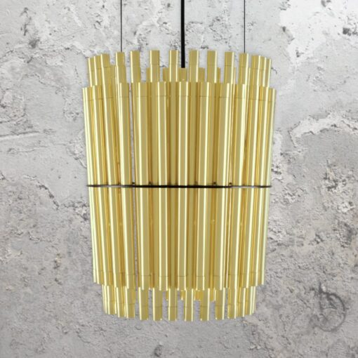 Satin Brass Tubes Chandelier