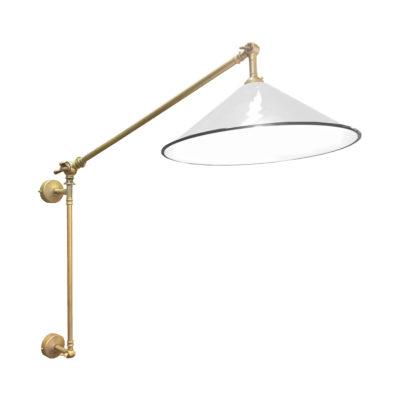 Satin Brass White Coolie Enamel Wall Light
