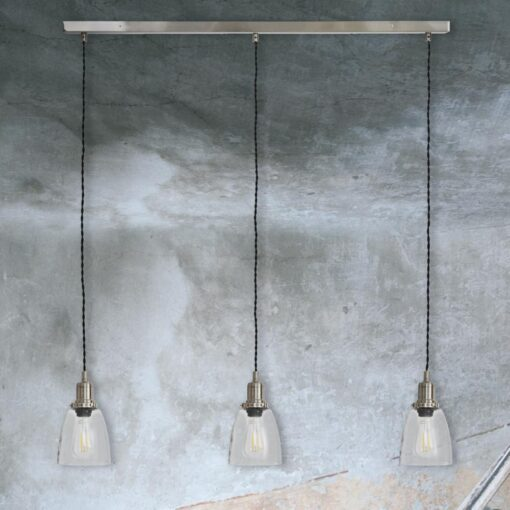 Satin Nickel 3 Light Bell Glass Pendant