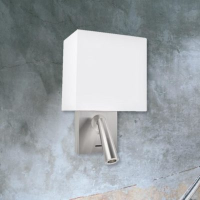 Satin Nickel Bedside Wall Reading Light with White Shade