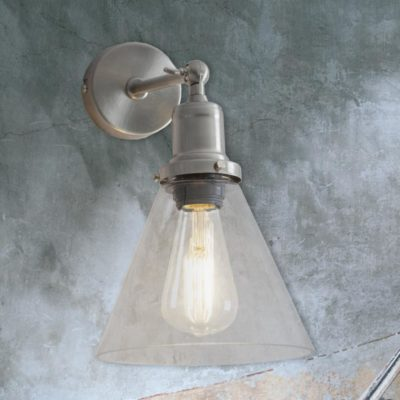 Satin Nickel Cone Glass Wall Light