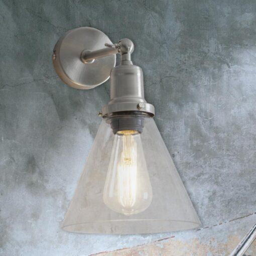 Satin Nickel Cone Glass Wall Light