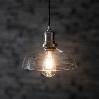 Satin Nickel Glass Pendant Light