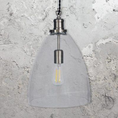Satin Nickel Open Bell Glass Pendant Light