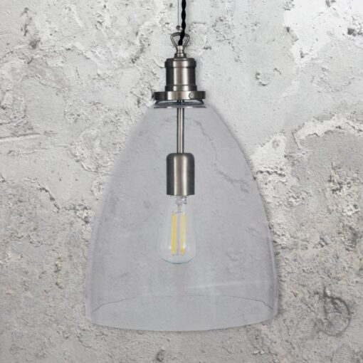 Satin Nickel Open Bell Glass Pendant Light