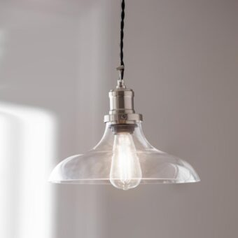Satin Nickel Open Dome Glass Pendant Light