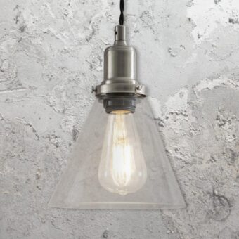 Satin Nickel Small Cone Glass Pendant Light