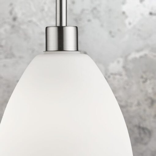 Satin Silver Frosted Bell Pendant Light