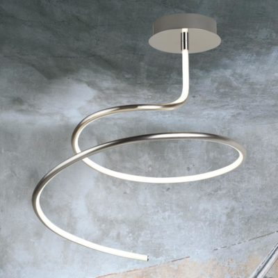 Satin Silver LED Swirl Flush