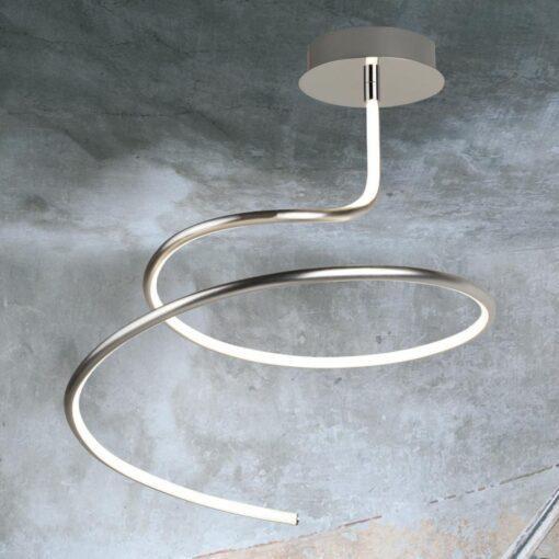 Satin Silver LED Swirl Flush