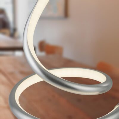 Satin Silver LED Swirl Table Lamp