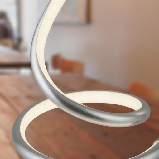 Satin Silver LED Swirl Table Lamp