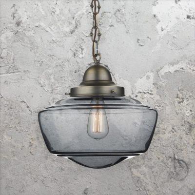 Smoked Glass Schoolhouse Pendant Light