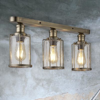 Antique Brass Seeded Glass 3 Light Flush