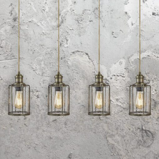 Antique Brass Seeded Glass 4 Light Pendant Bar